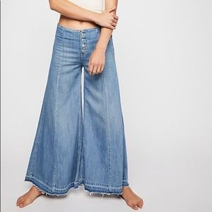 Free People Wide Leg Button Fly Jeans